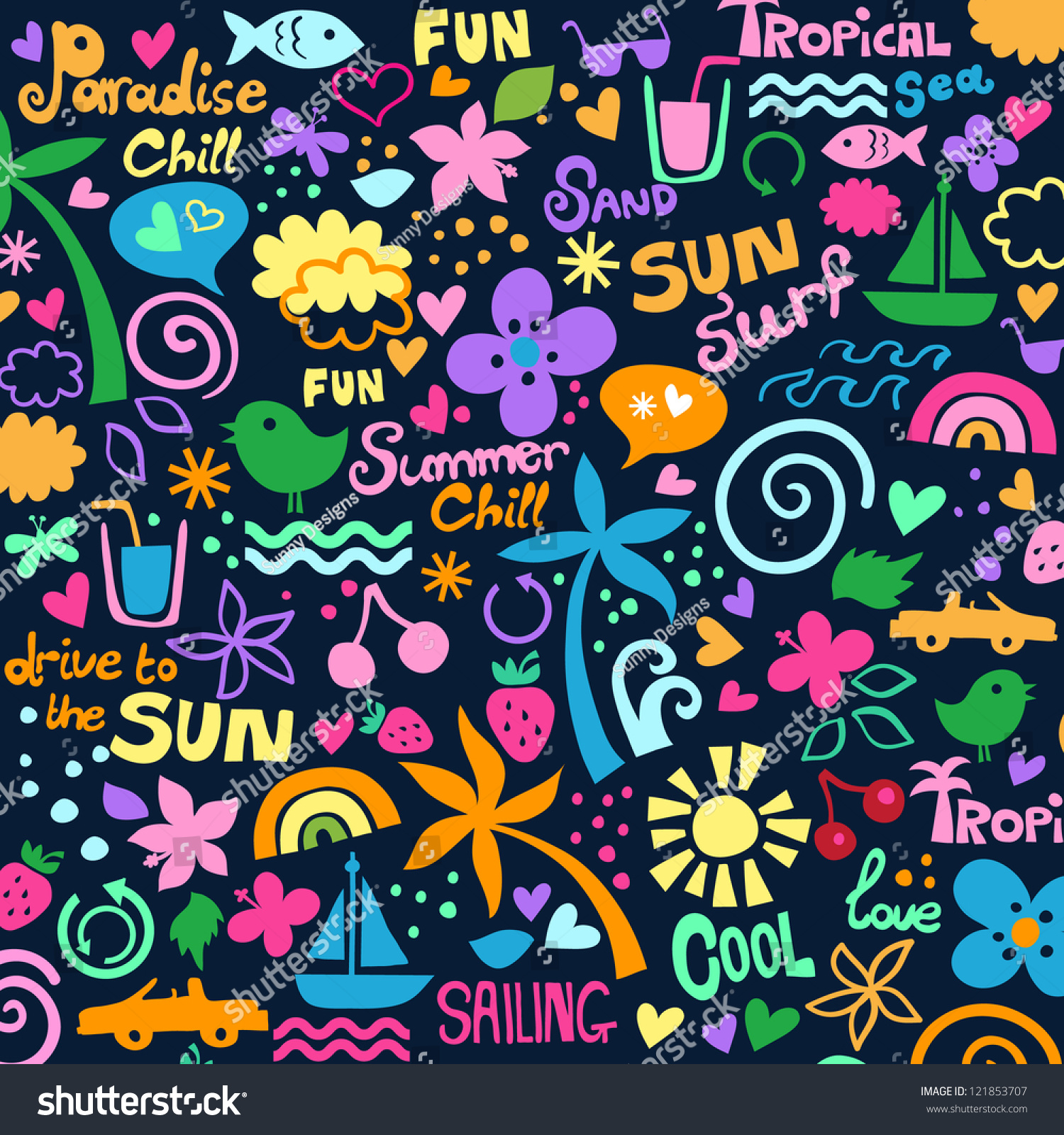 Colorful Summer Graphics Stock Vector 121853707 - Shutterstock