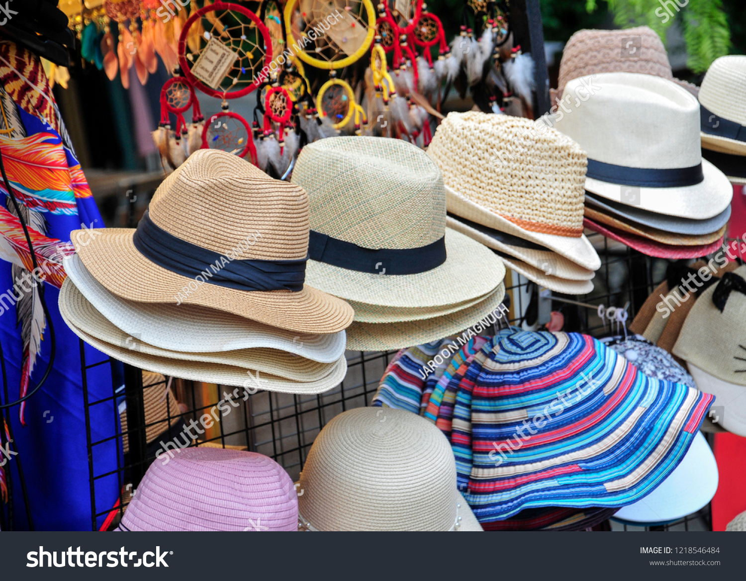 Straw hat fashion in retro vintage style on sale at the marketplace 69cecdd4aa4