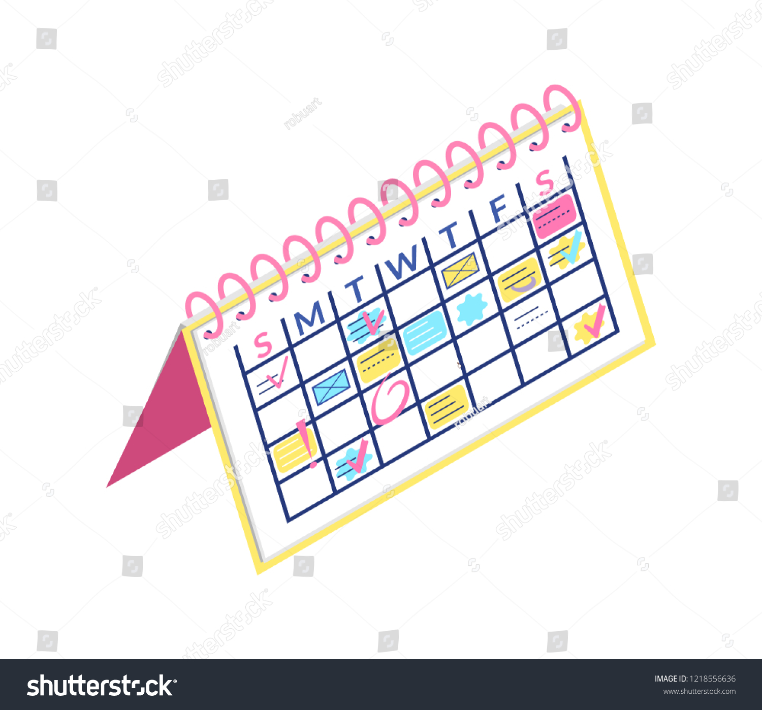 Calendar On Cardboard Paper Business Plan Organizer Vector Dates Months And Days