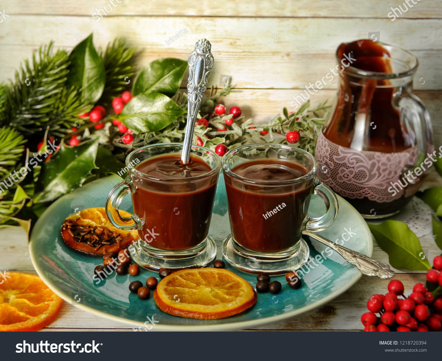 Hot Chocolate Glass Cups On Blue Stock Photo Edit Now 1218720394