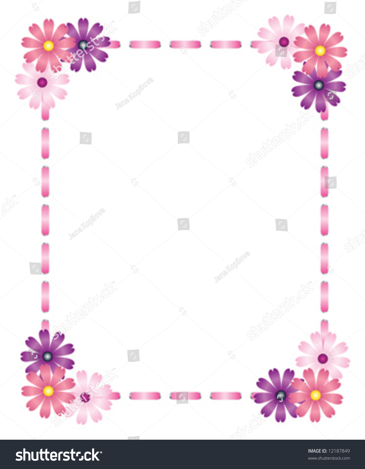 Vector Pink Ribbon Frame Flowers Stock Vector Royalty Free