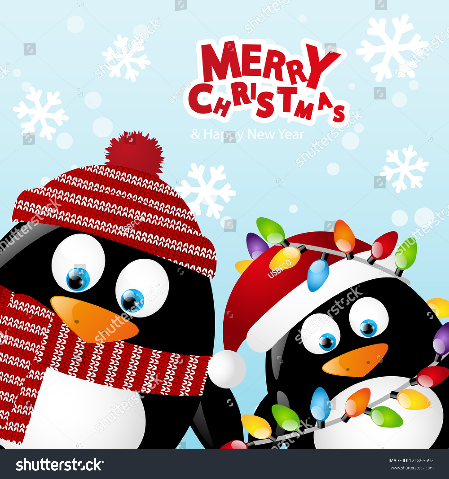 merry christmas card two penguins stock vector royalty free