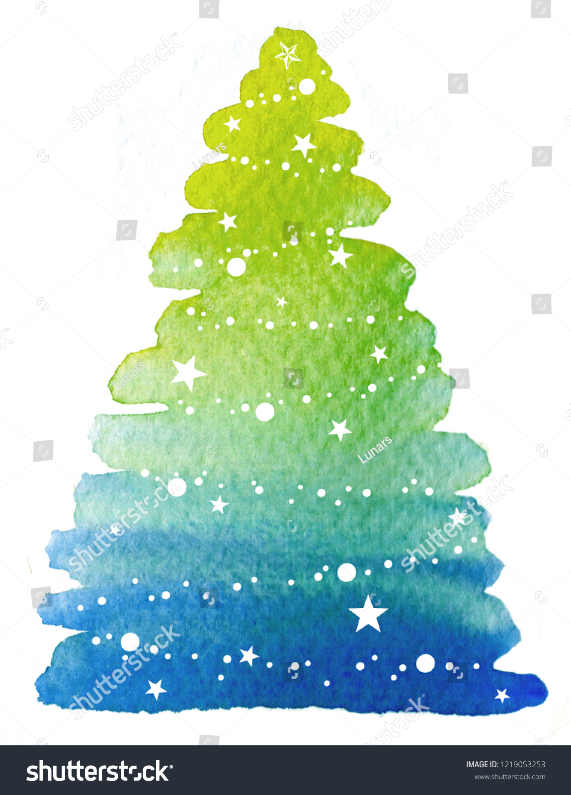 Colorful Christmas Tree Watercolor Hand Paint Stock Illustration 1219053253