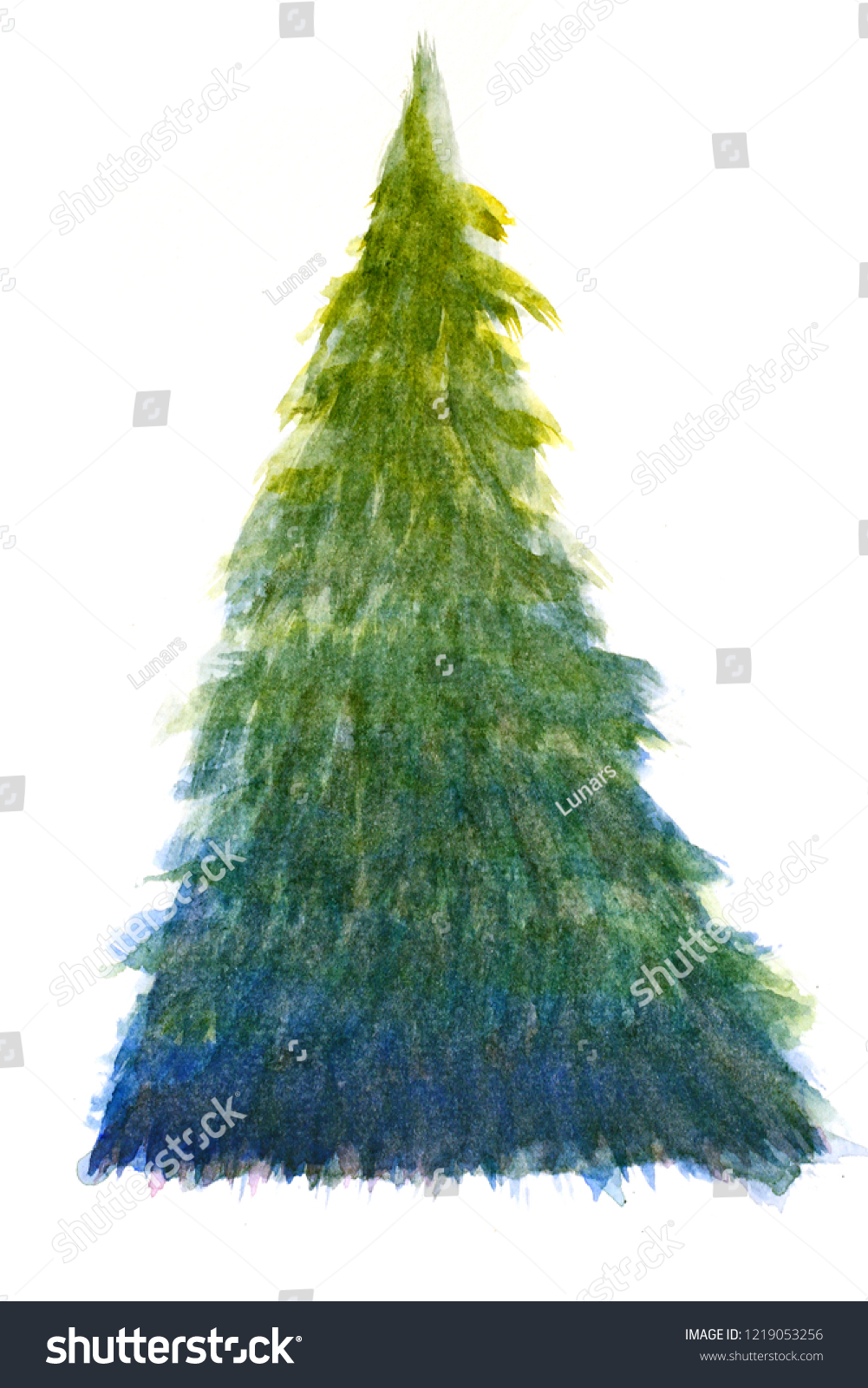 Colorful Christmas Tree Watercolor Hand Paint Stock Illustration 1219053256