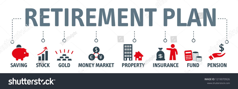 banner retirement planning vector illustration retirement stock vector  (royalty free) 1219070926  shutterstock