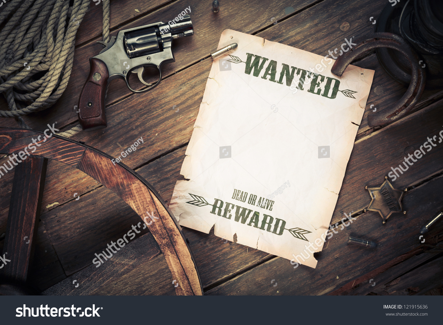 Old Western Background Wanted Poster Stock Photo 121915636 ...