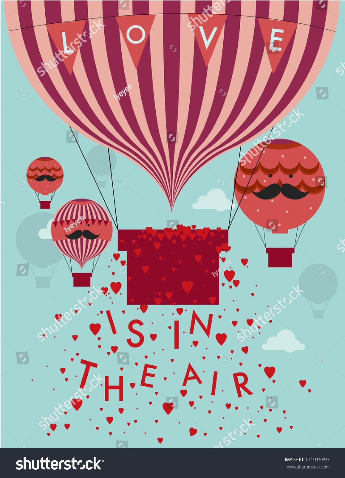 Love Air Hot Air Balloon Template Stok Vektör (Telifsiz) 121916893 ...