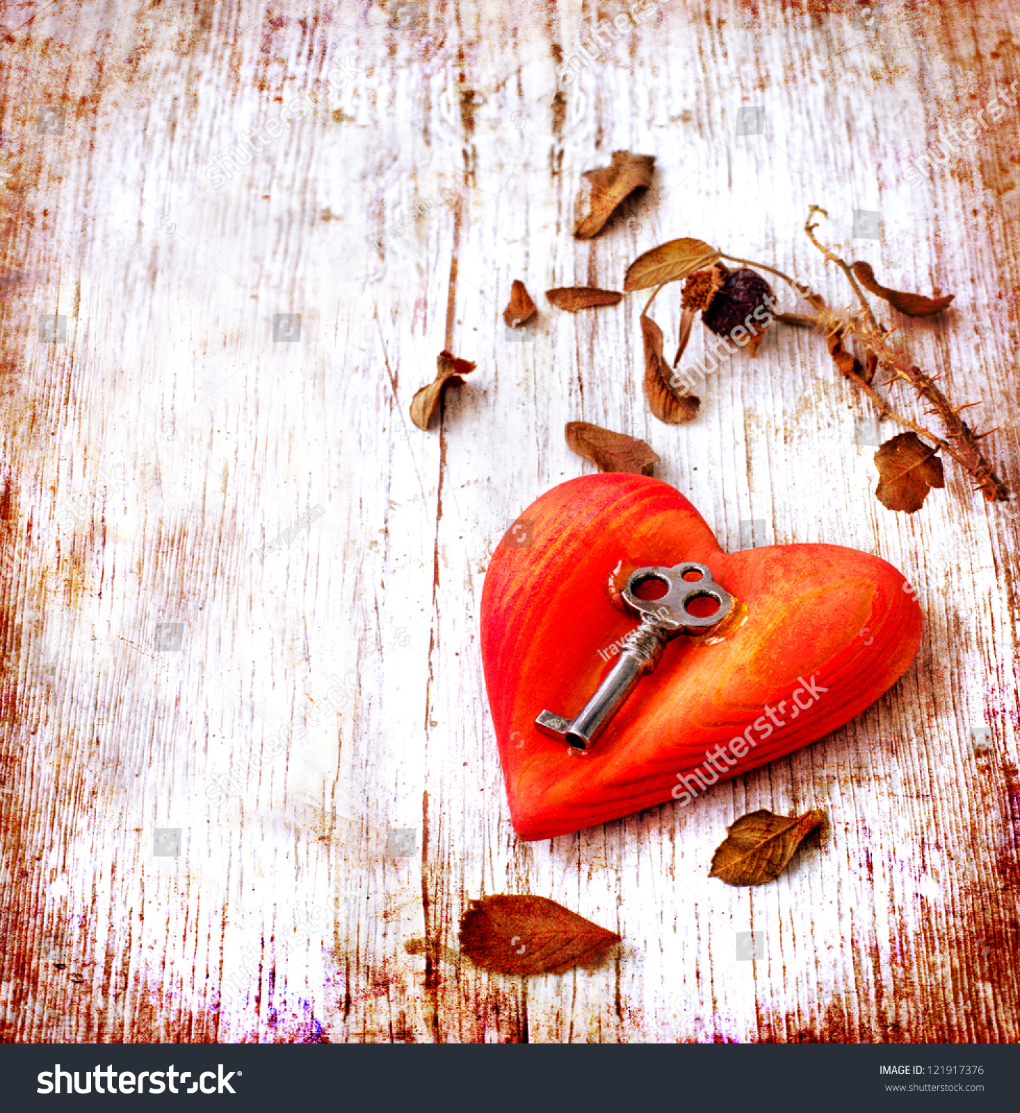 Key Heart Symbol Lovevintage Card Red Stock Photo Royalty Free