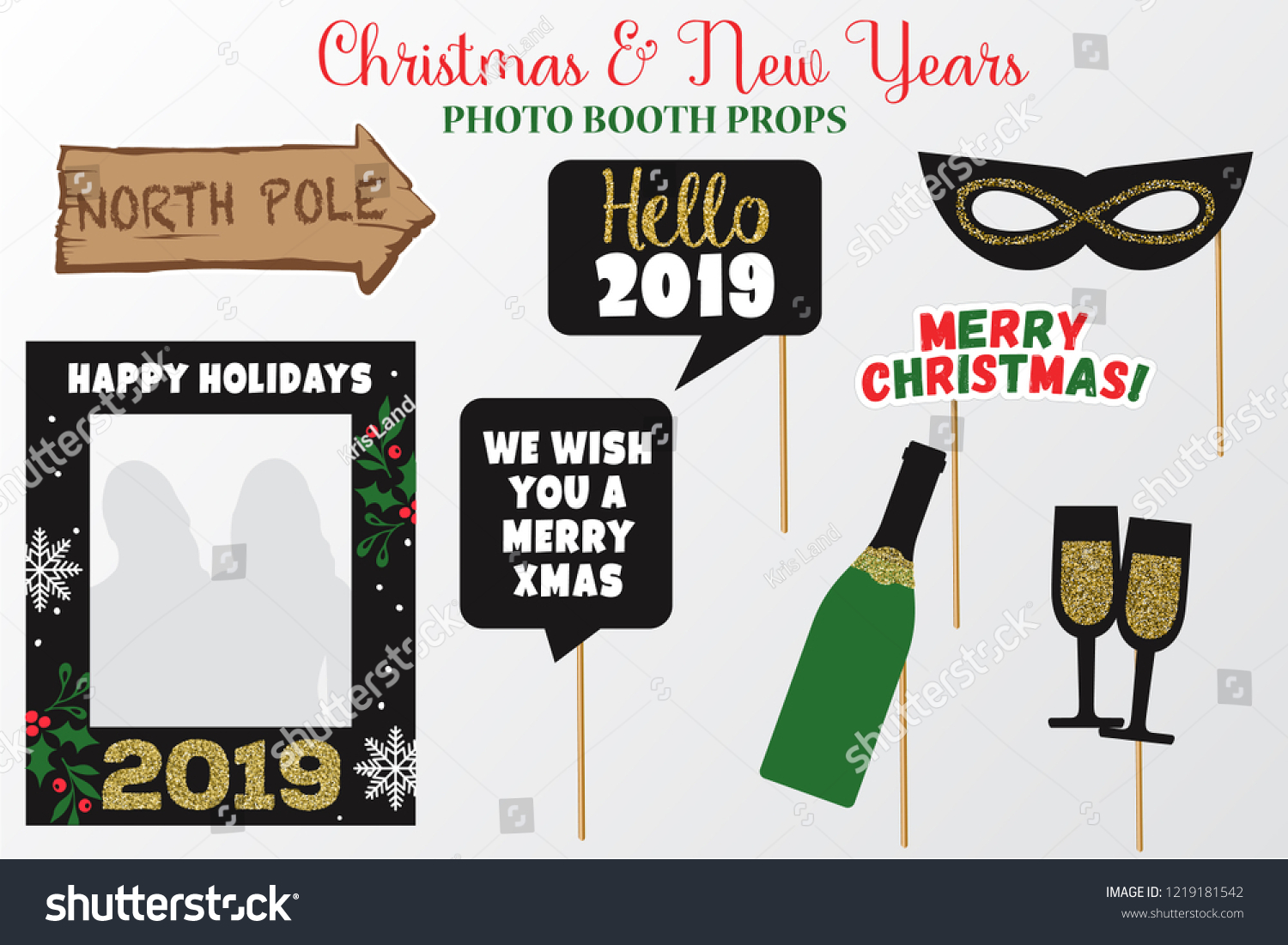 gold glitter christmas and new year photo booth props party printable speech bubble we