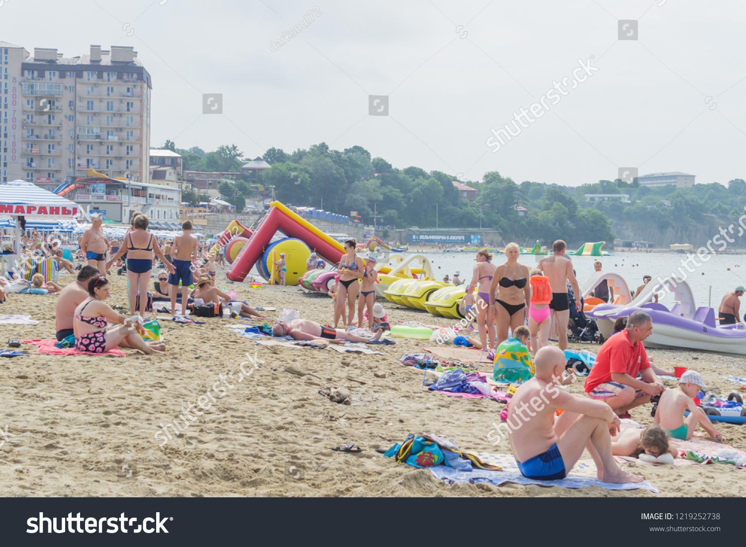 Village Dzhubga Beach Krasnodar Krai Russia People Stock Image 1219252738