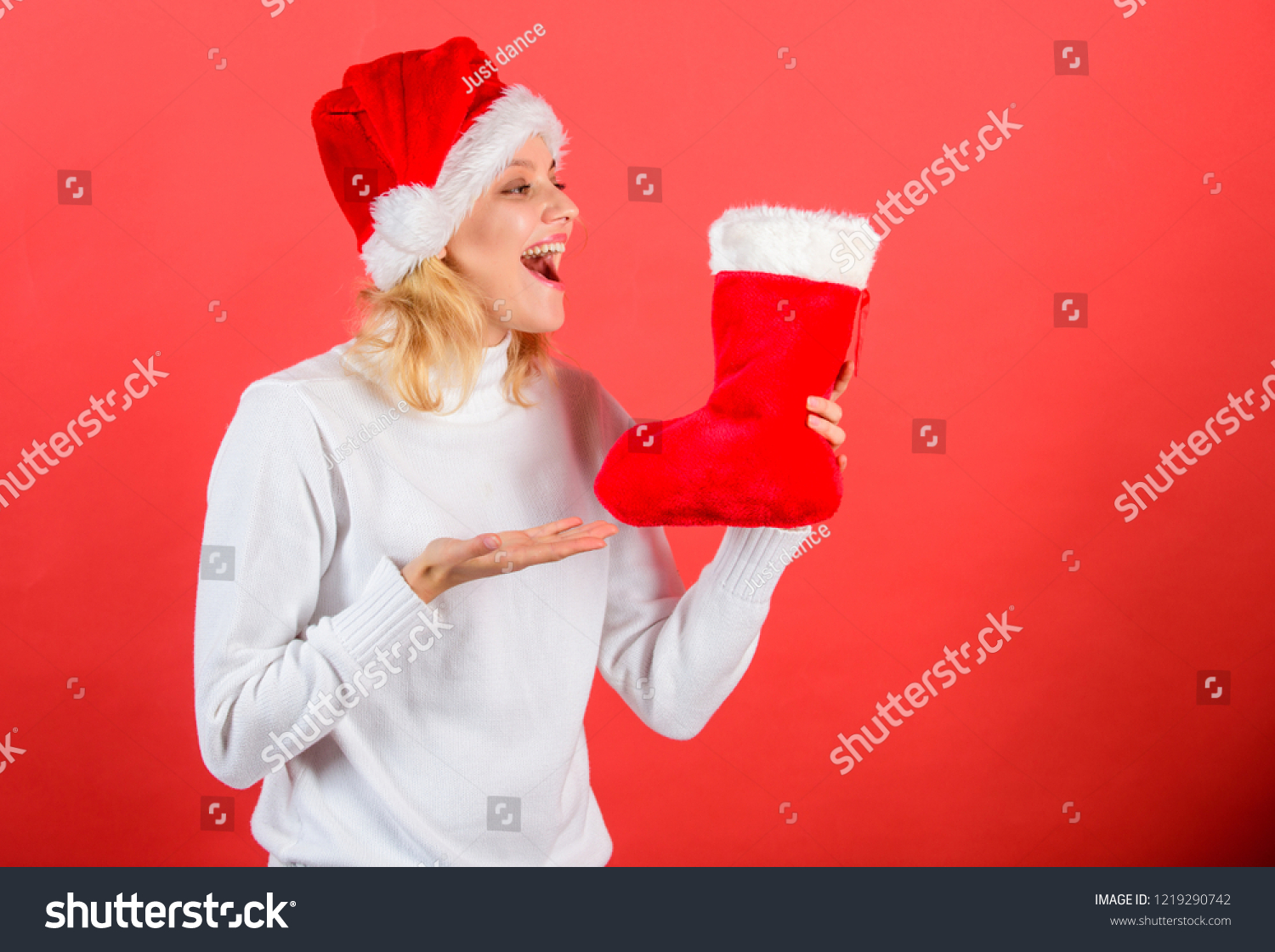 Christmas Stocking Concept Girl Cheerful Face Stock Photo (Edit Now ...