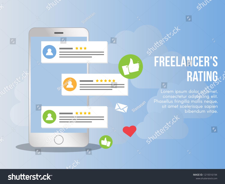 Freelancer Rating Concept Illustration Vector Design Stock