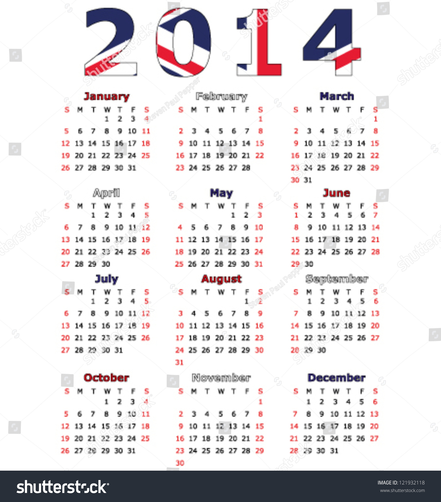 Callander United Kingdom  City pictures : 2014 Calendar Flag United Kingdom Stock Vector Illustration ...