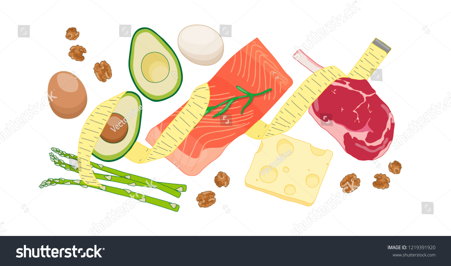 Atkins Low Carb Diet Concept Illustration Stock Vector Royalty Free