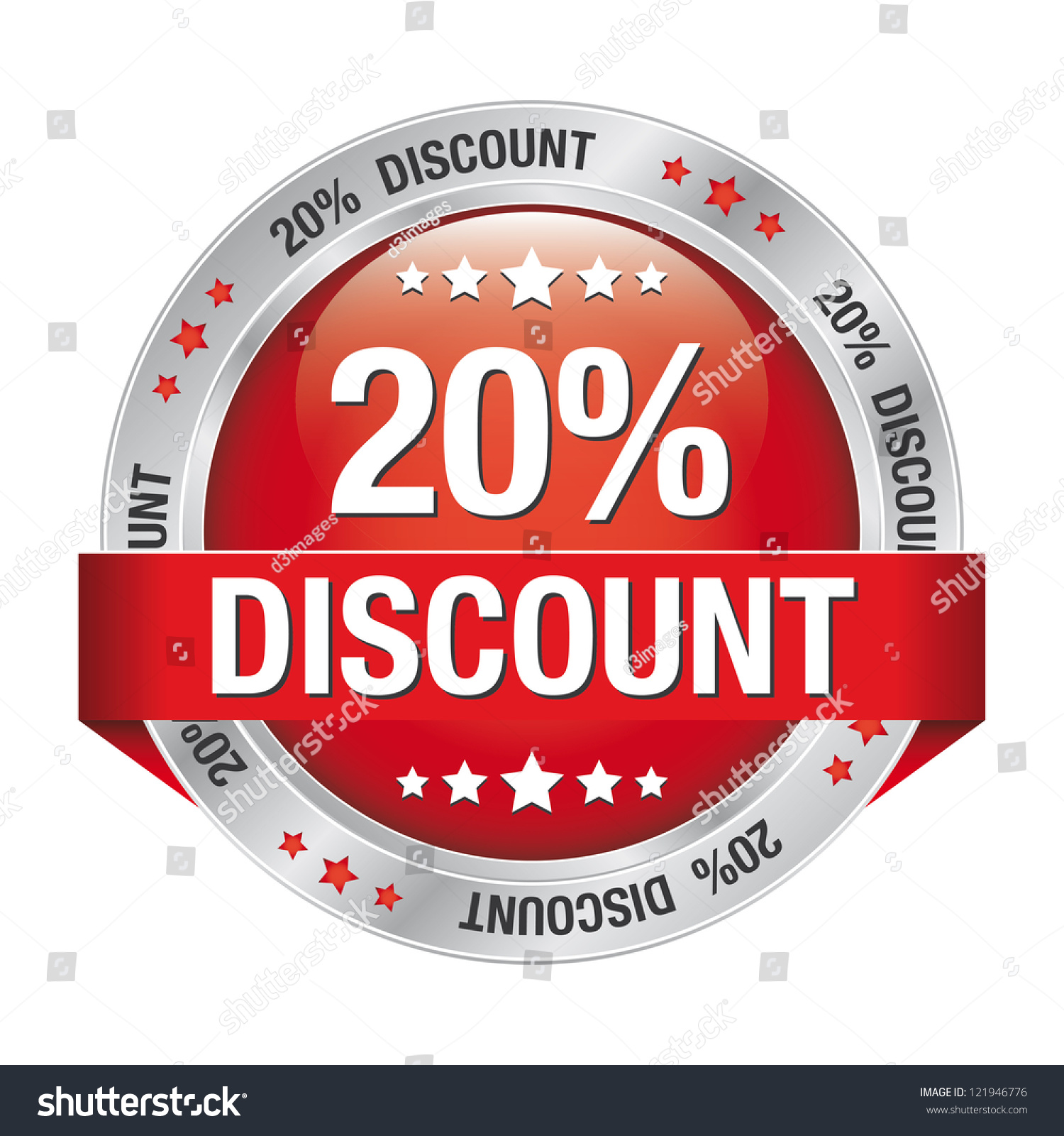 20 discount red silver button isolated stock vector for Cheap logo