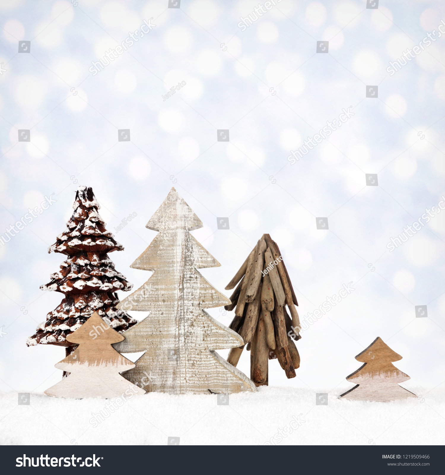 Group Rustic Wooden Christmas Tree Decorations Stock Photo Edit Now 1219509466
