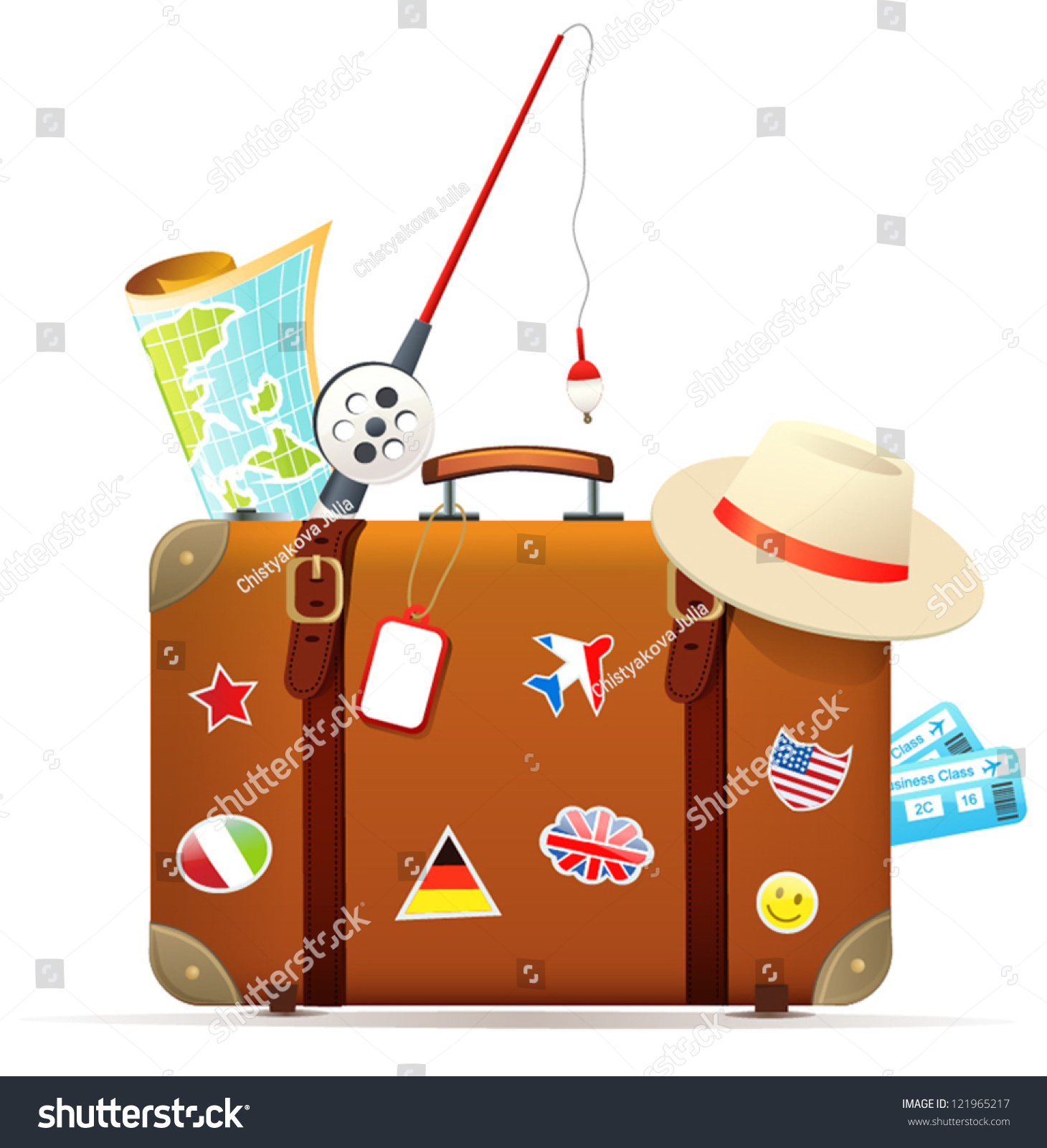Old Travel Suitcase Traveling Accessories Stock Vector 121965217 ...