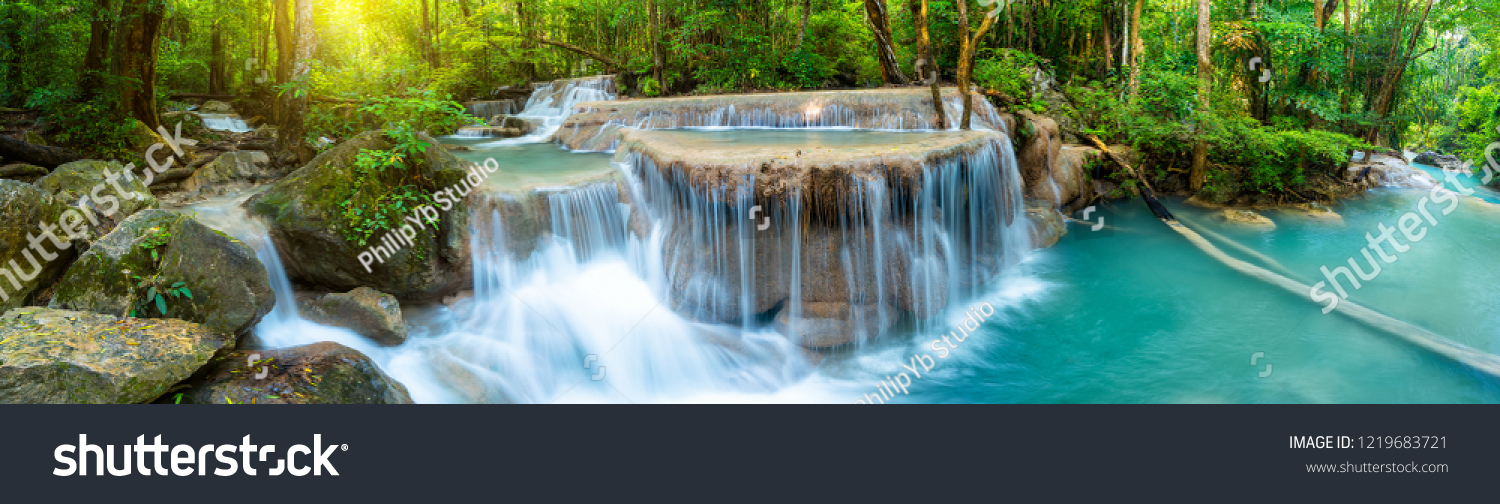 Panoramic beautiful deep forest waterfall in Thailand #1219683721