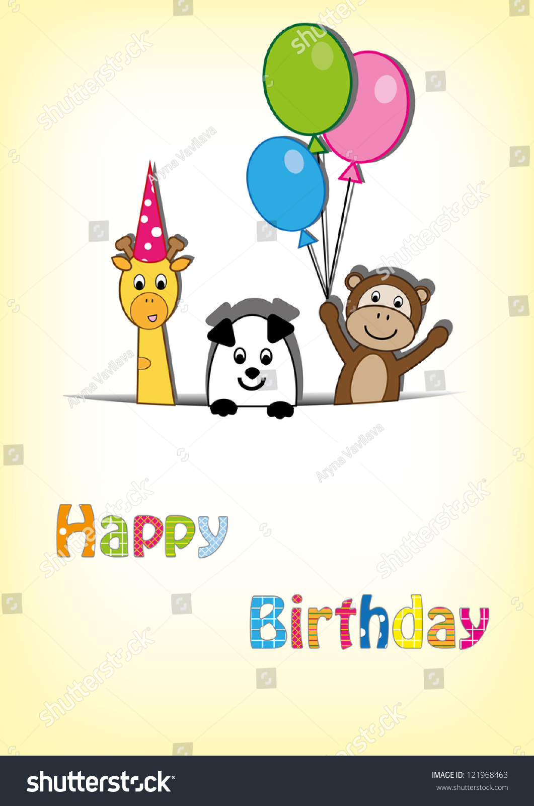Cute Happy Birthday Card Giraffe Monkey Vector 121968463 – Monkey Birthday Card