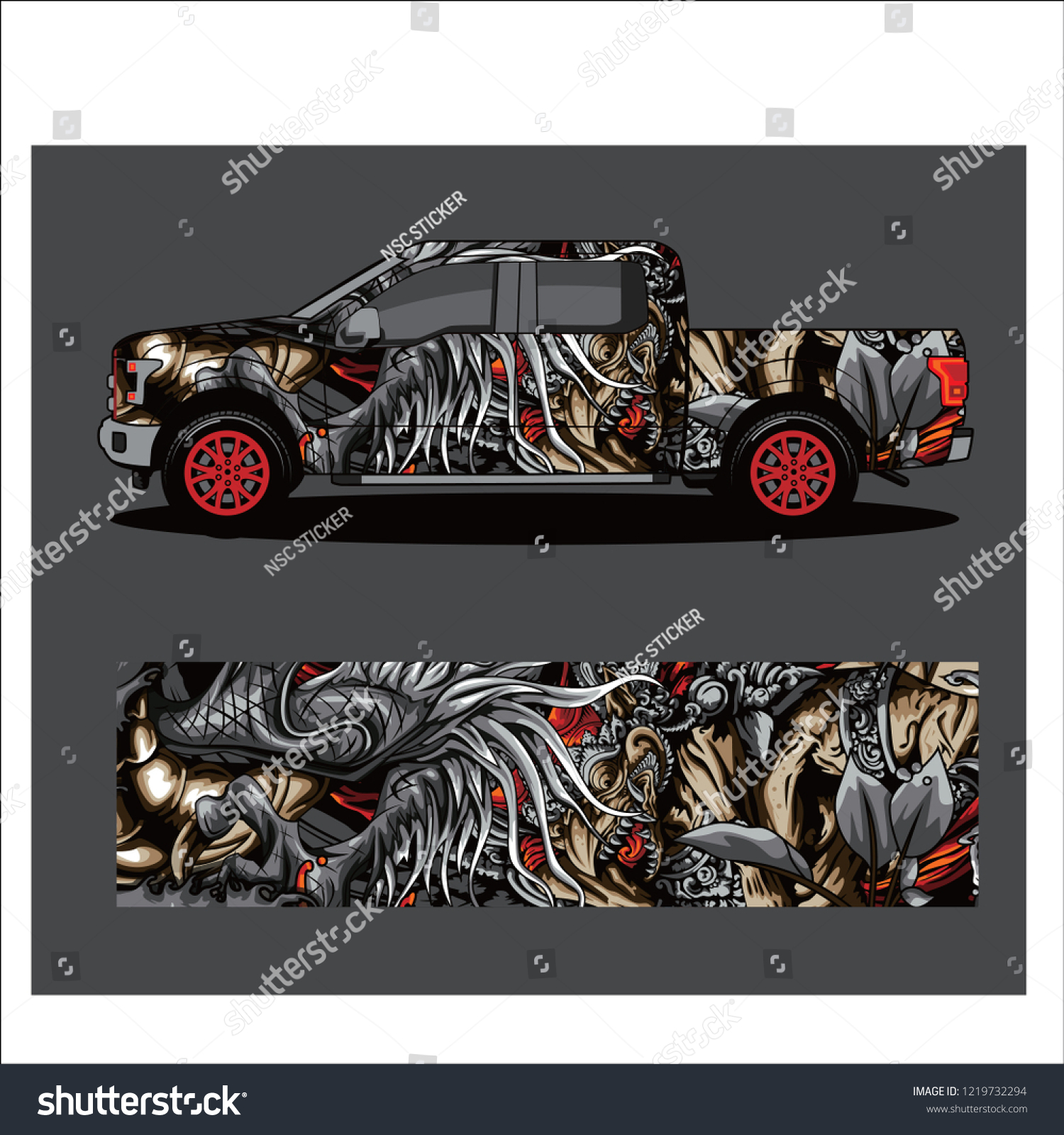 Car decal vector dragon japanese abstract racing designs for vehicle sticker vinyl wrap