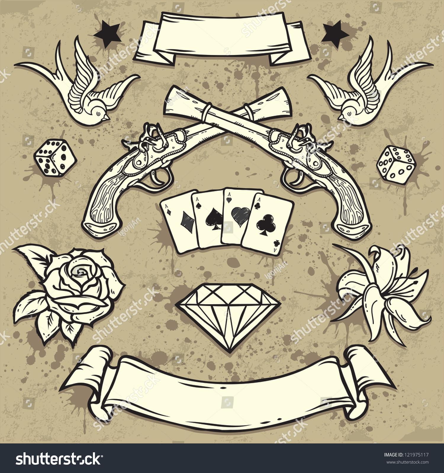 Set of Old School Tattoo Elements… Stock Photo 121975117 - Avopix.com