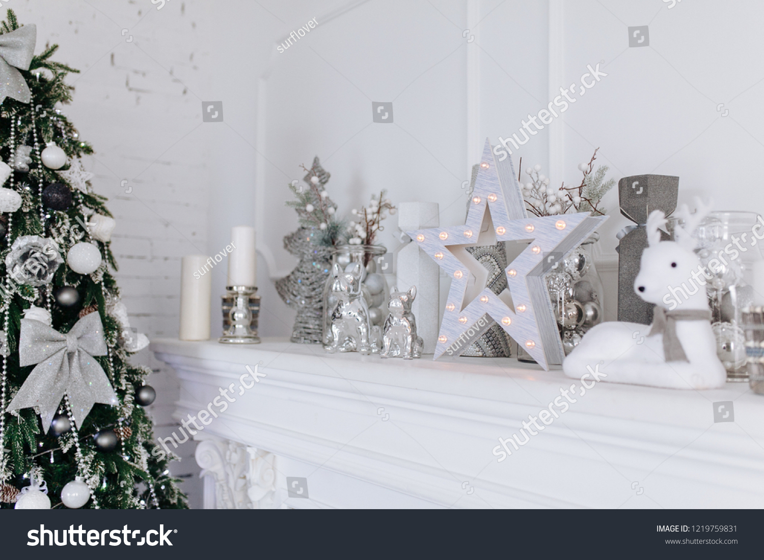Christmas New Year White Silver Decorations Stock Photo Edit Now 1219759831