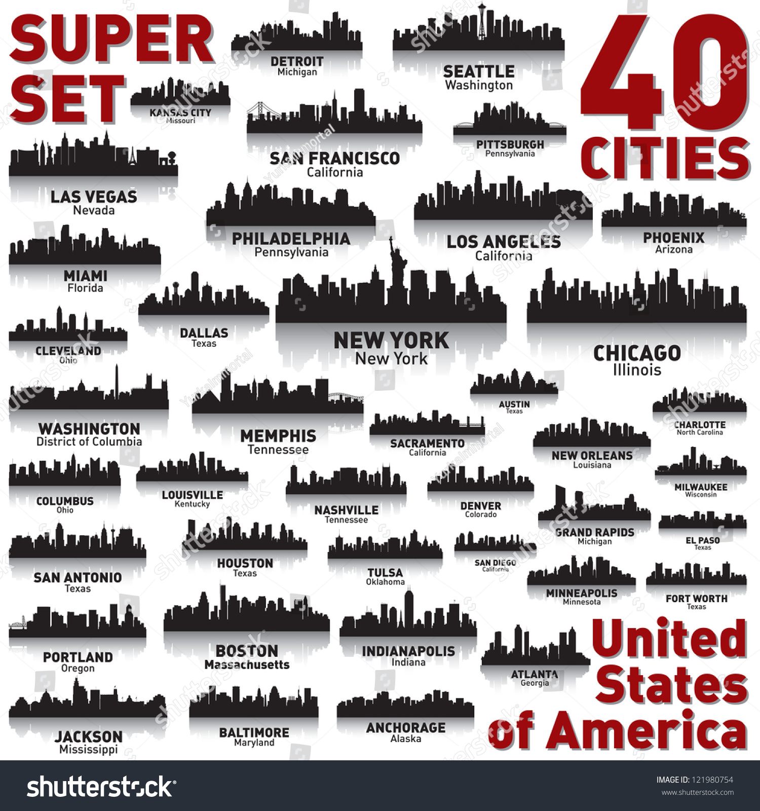 Incredible city skyline set 40 city silhouettes of united for United states of america cities