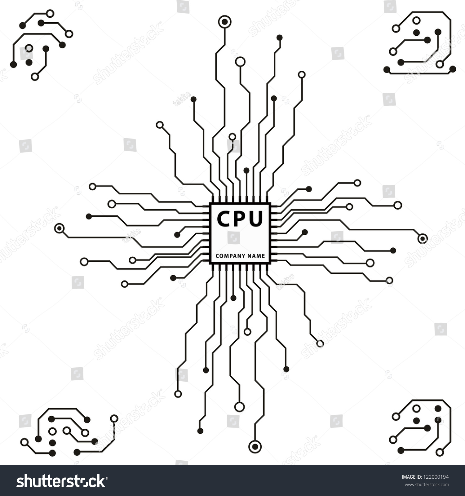 Abstract 2 D Circuit Board Cpu Design Stock Vector (Royalty Free ...