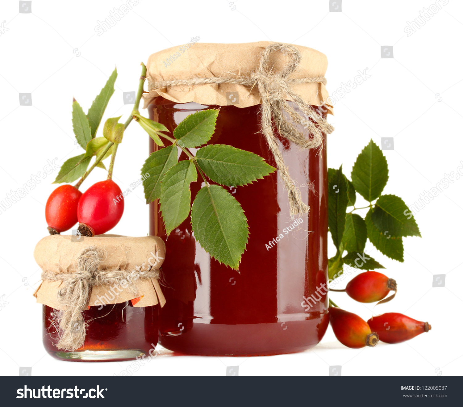 Jars with hip roses jam and ripe berries isolated on white stock photo 122005087 shutterstock - What to do with rosehips jelly and vinegar ...