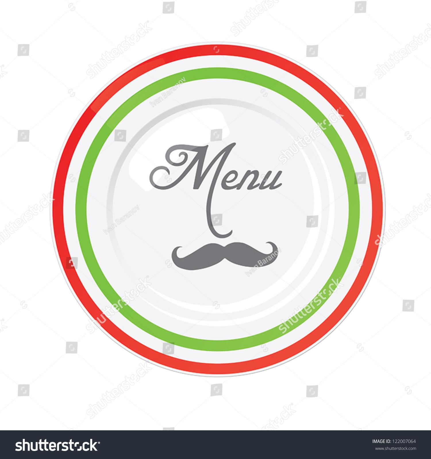 Italian Restaurant Logo With Flag: Funny Italian Restaurant Menu Design Template With Italian
