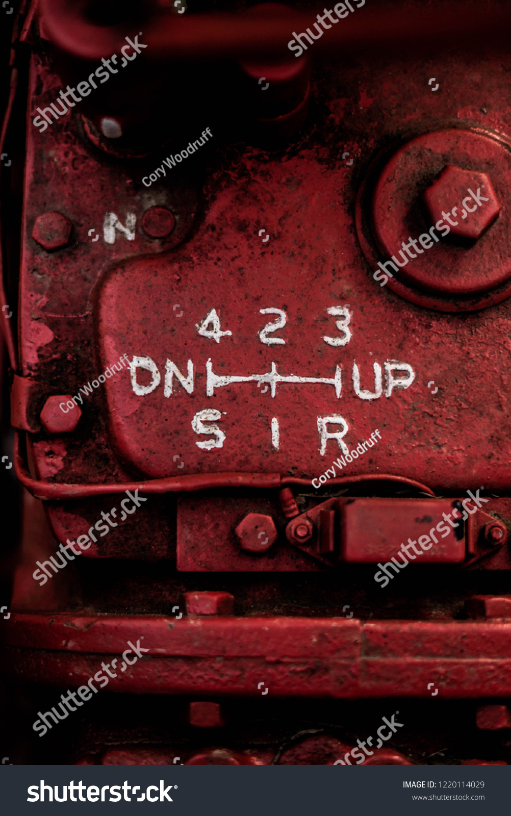 Close Red Rusty Painted Tractor Gear Stock Photo (Edit Now