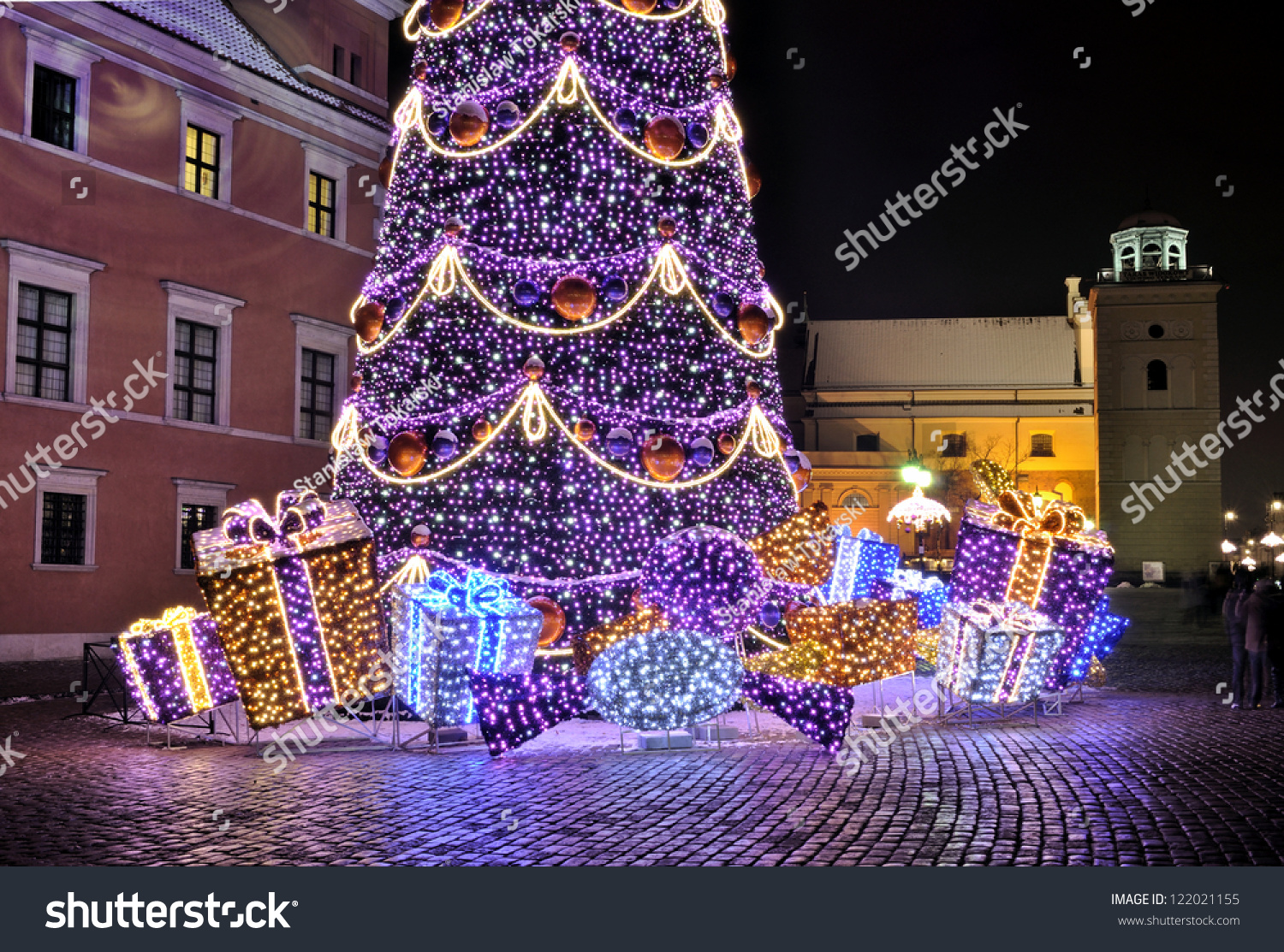 Christmas Decorations In Warsaw Poland Stock Photo 122021155