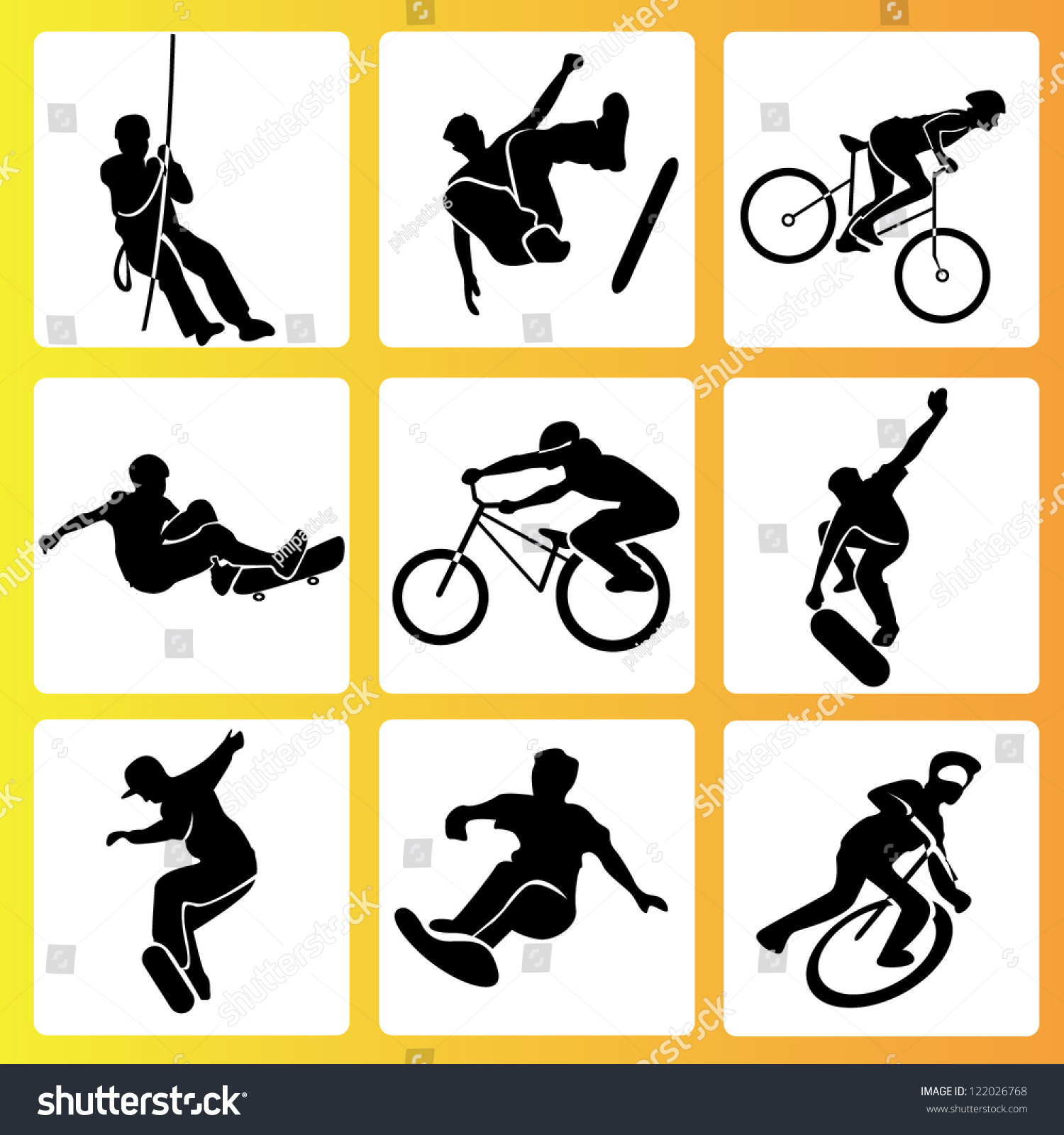 extreme sport summer activities icon set stock vector 122026768 shutterstock. Black Bedroom Furniture Sets. Home Design Ideas