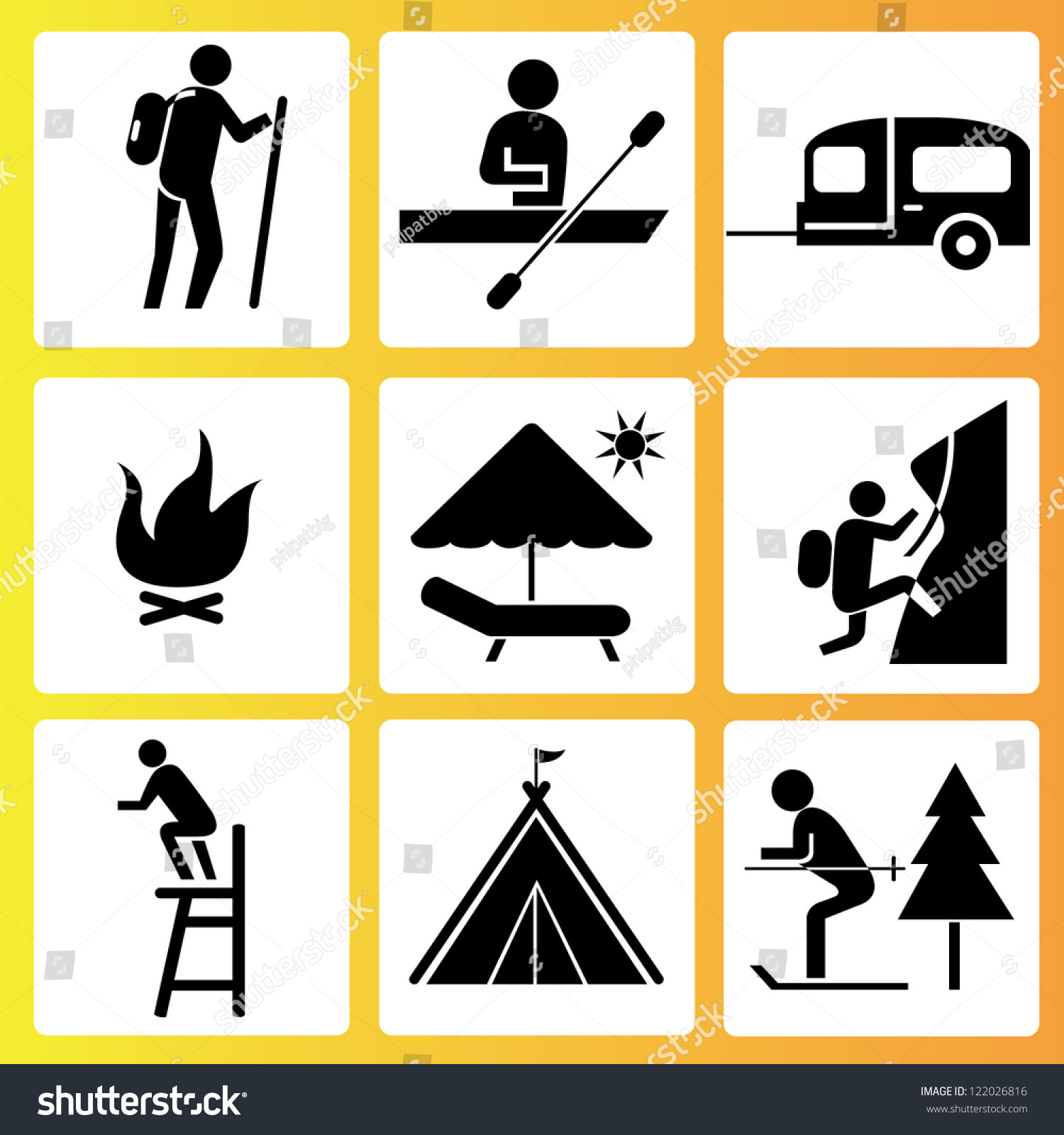 holiday summer activities icon set vector stock vector 122026816 shutterstock. Black Bedroom Furniture Sets. Home Design Ideas
