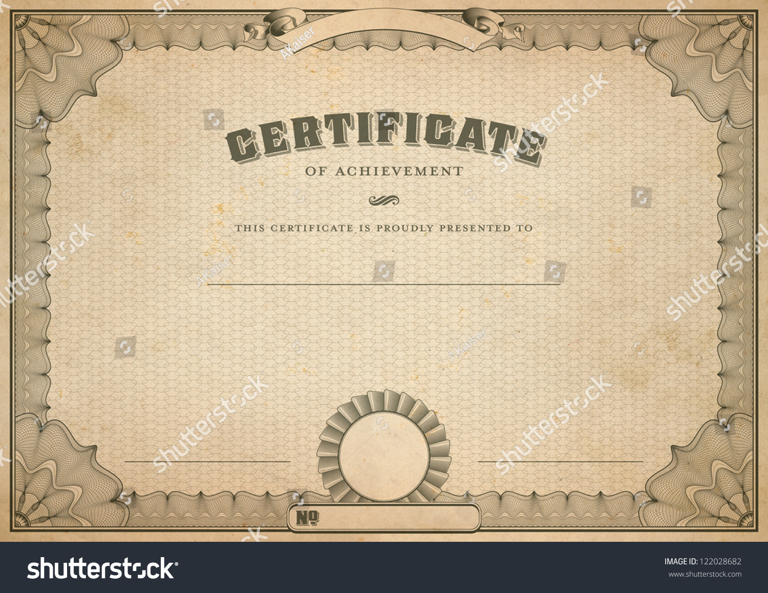 Detailed Vintage Certificate Template Guilloche Border Stock