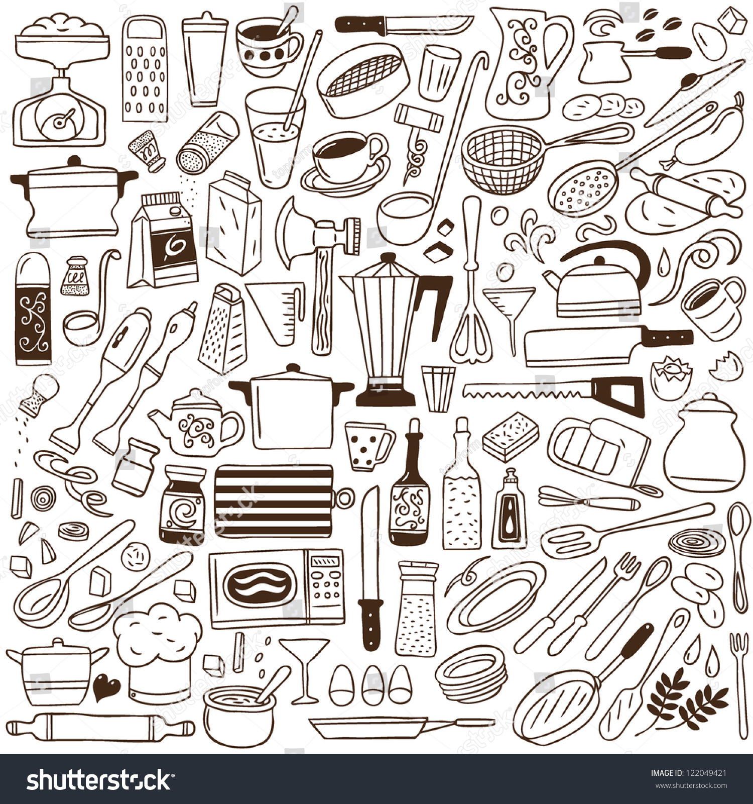 Kitchen tools drawing - Kitchen Tools Doodles Collection
