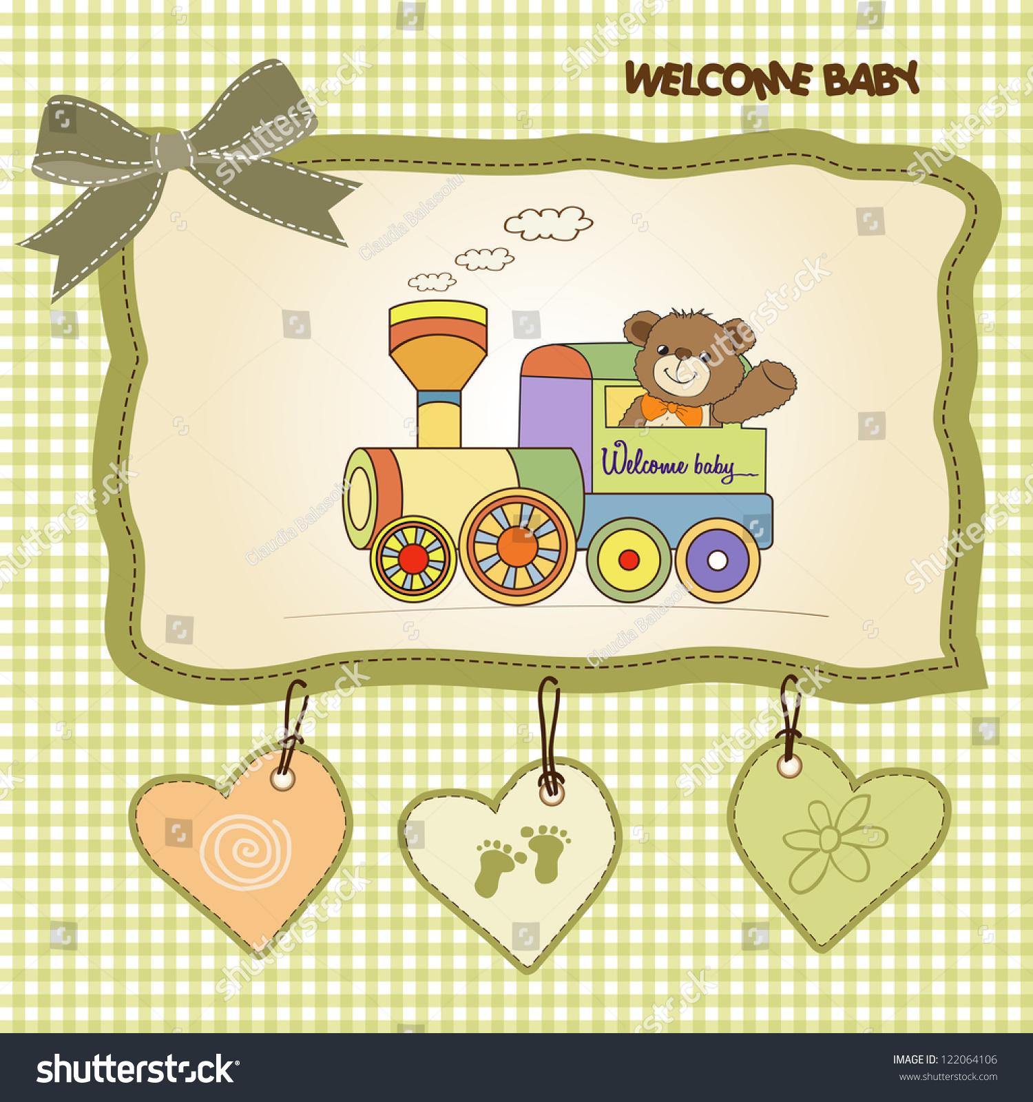 Baby Shower Card Teddy Bear Train Stock Vector
