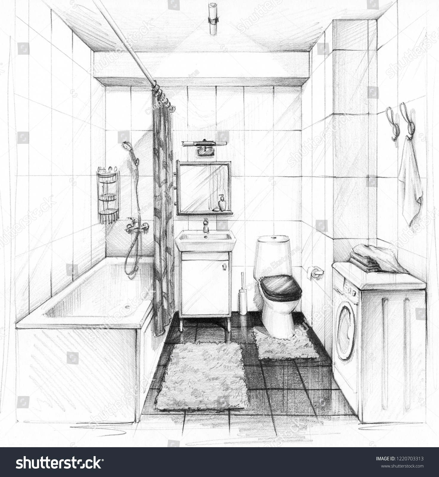 Interior sketch bathroom design in a modern style conciseness and simplicity pencil drawing