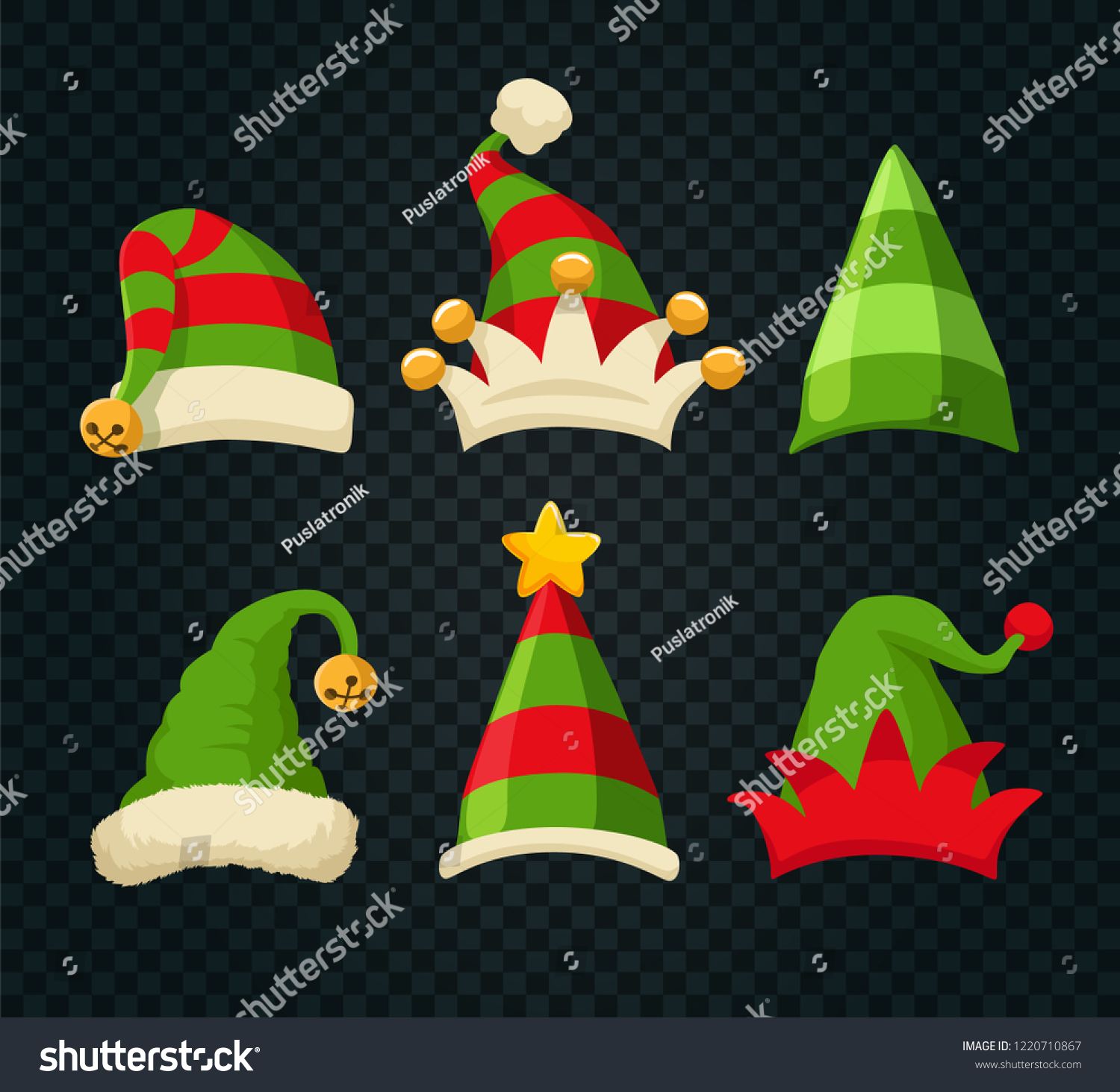 8754b45fe86 Winter Woolen Elves Hat Christmas Set. Xmas Green and Red Fur Cap Photo  Booth Props for Kids on Transparent Background. Cartoon Style Vector  Illustration - ...