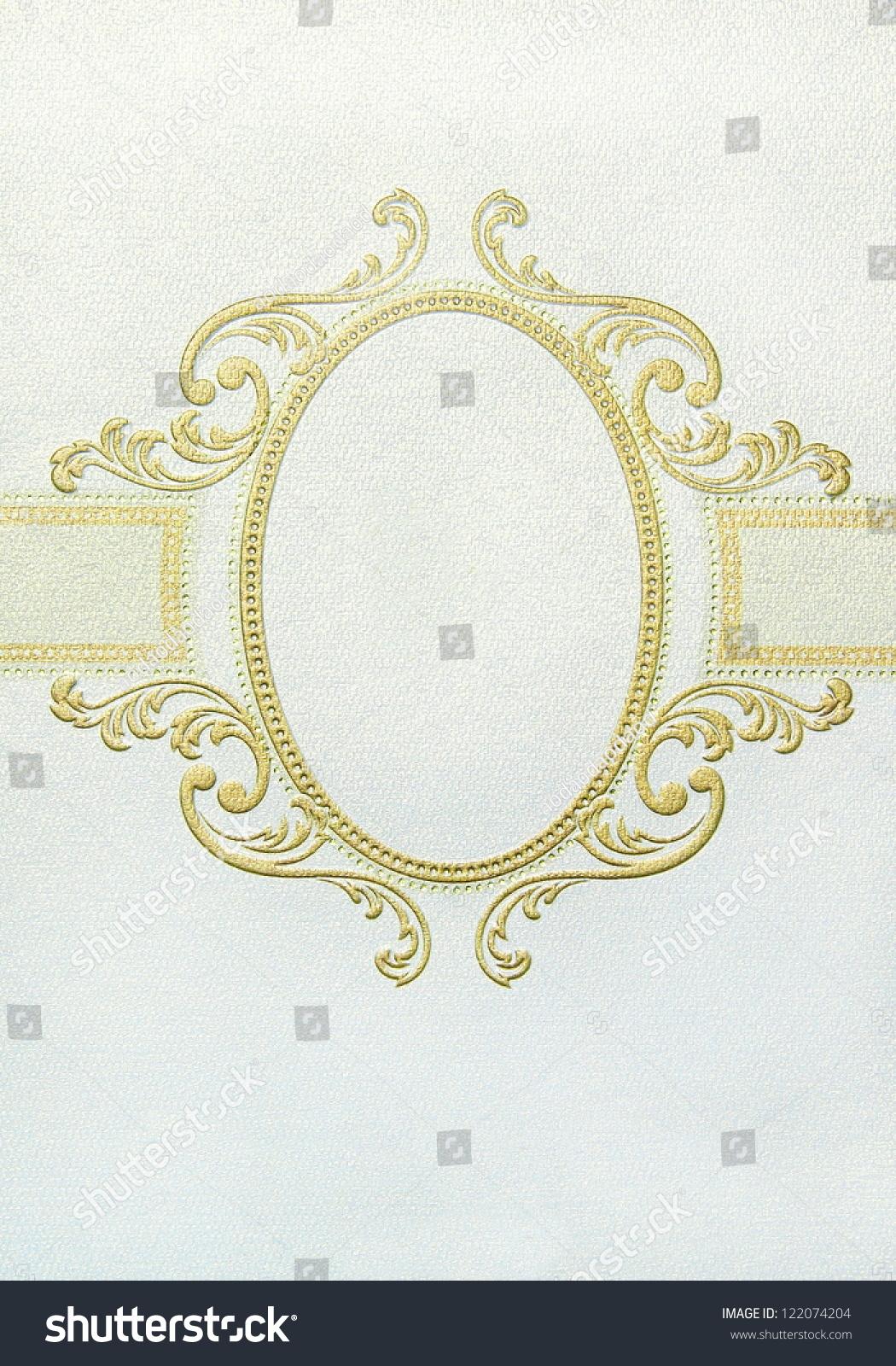 vintage frame design oval. Oval Floral Vintage Frame For Design Paper Card, Gold Line R