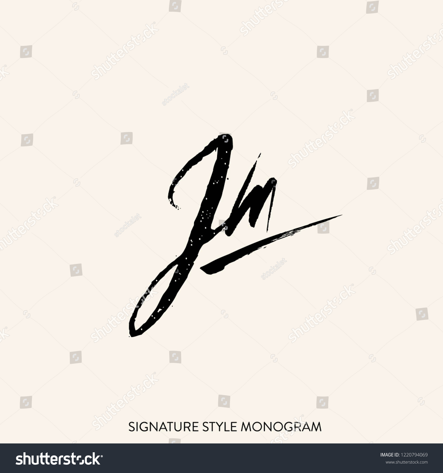 Signature style monogram with letter j and letter m typographic textured icon initial lettering