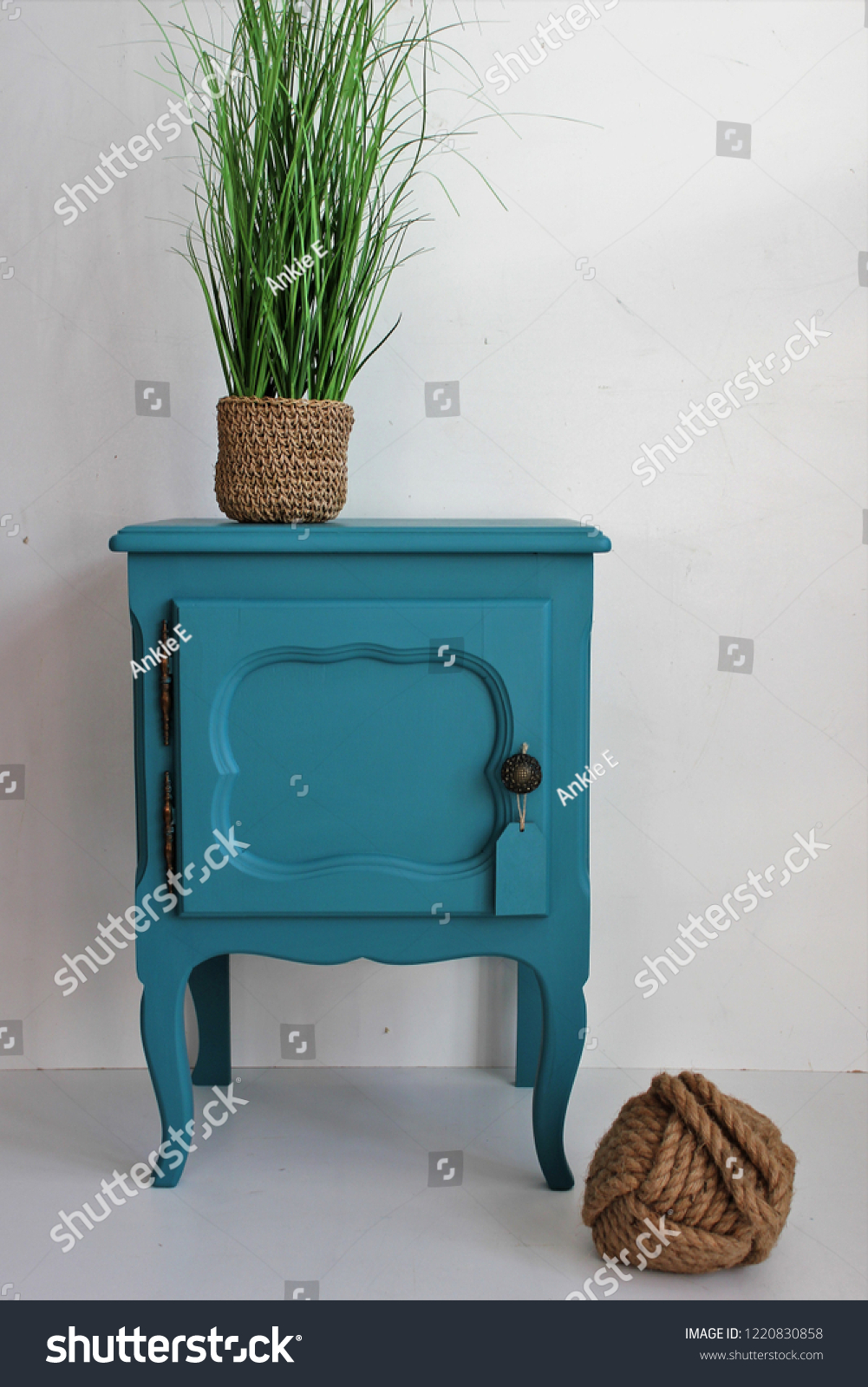 Bedside Table Vintage Blue Green Plant Stock Photo Edit Now 1220830858