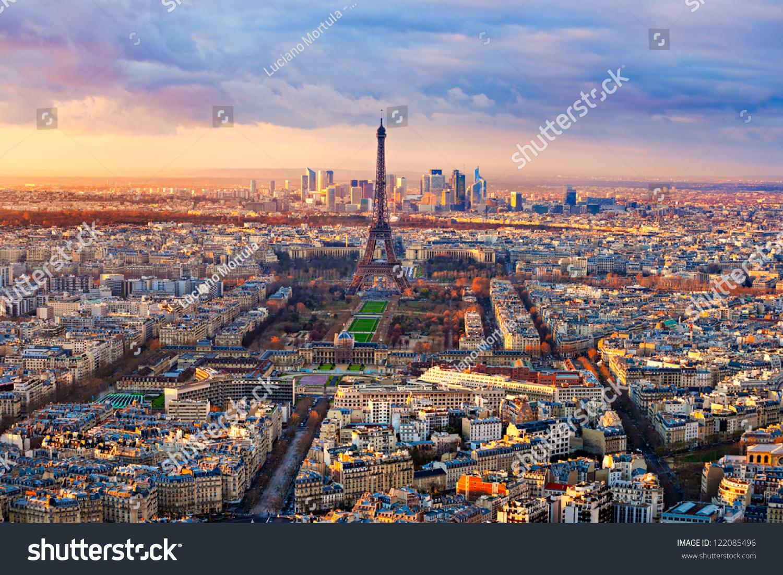 Aerial View Paris Sunset Stock Photo 122085496 - Shutterstock