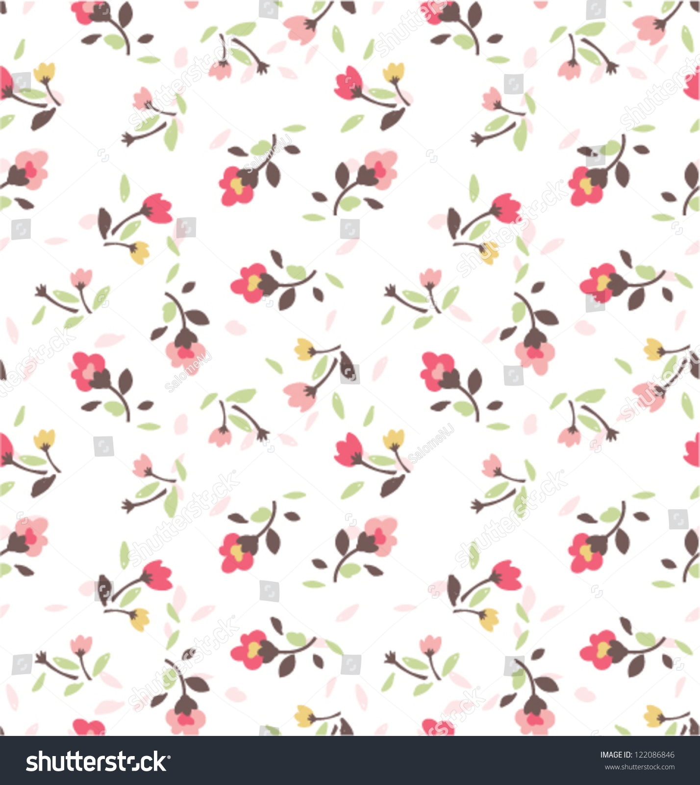 Vintage Tiny Flower Vector Pattern Background Stock Vector