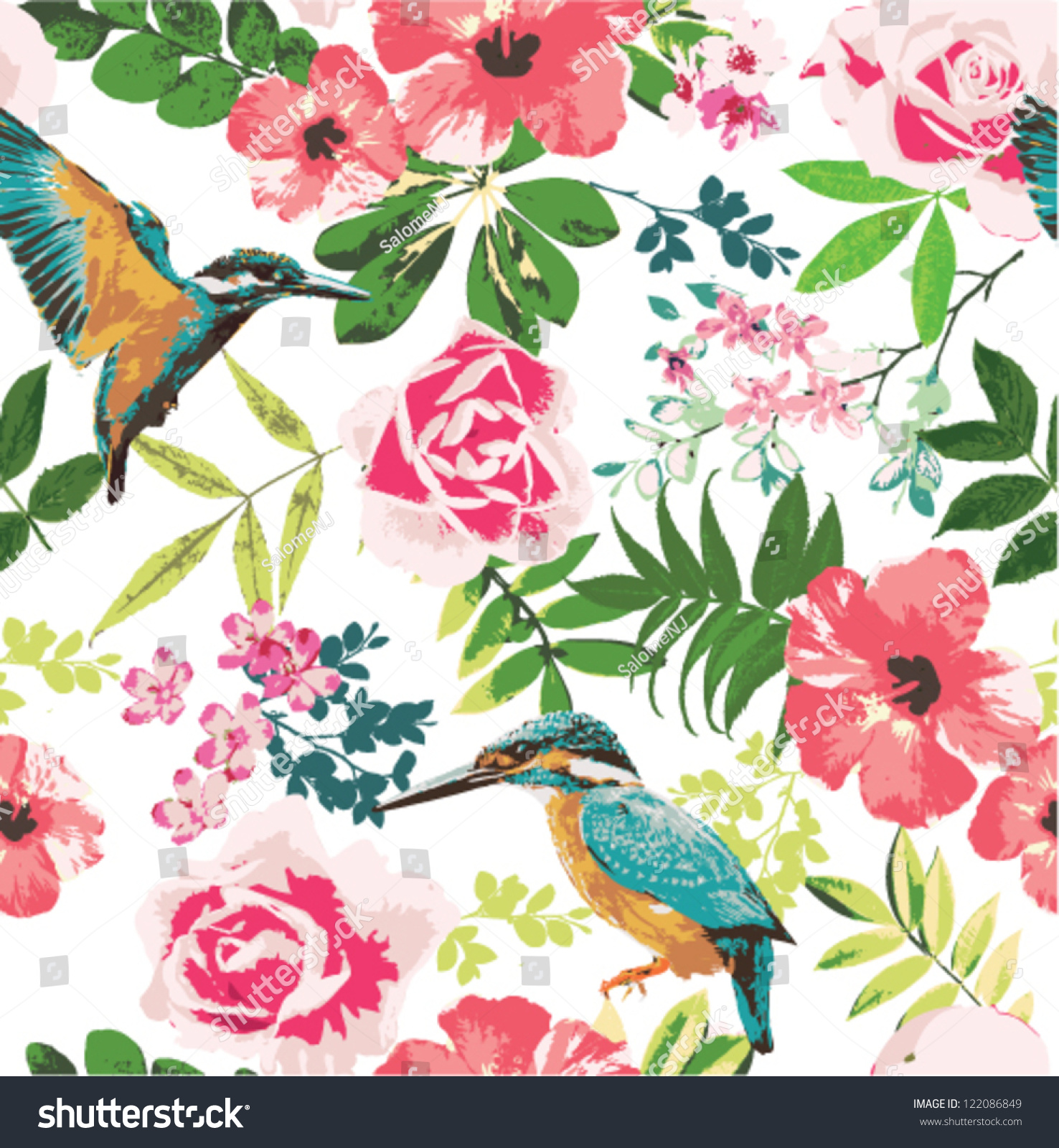 Seamless Tropical Floral Pattern Background Stock Image Download Now