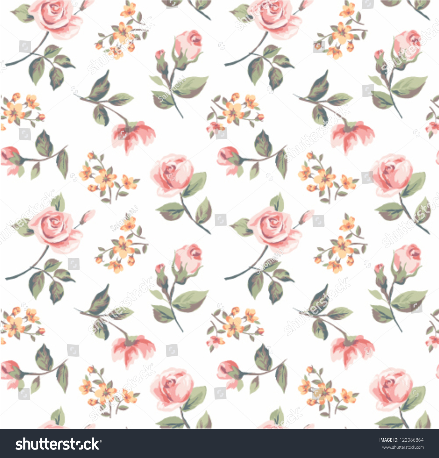 Seamless Pastel Color Vintage Tiny Flower Stock Vector