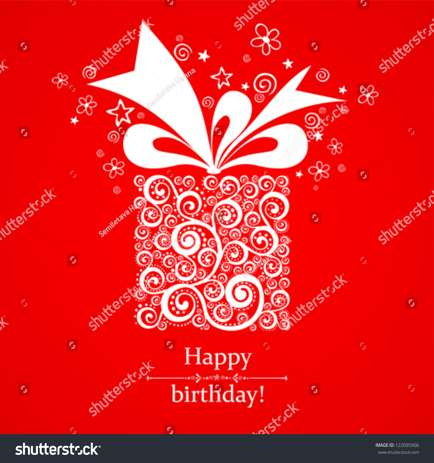 Vintage Birthday Card. Celebration Red Background With