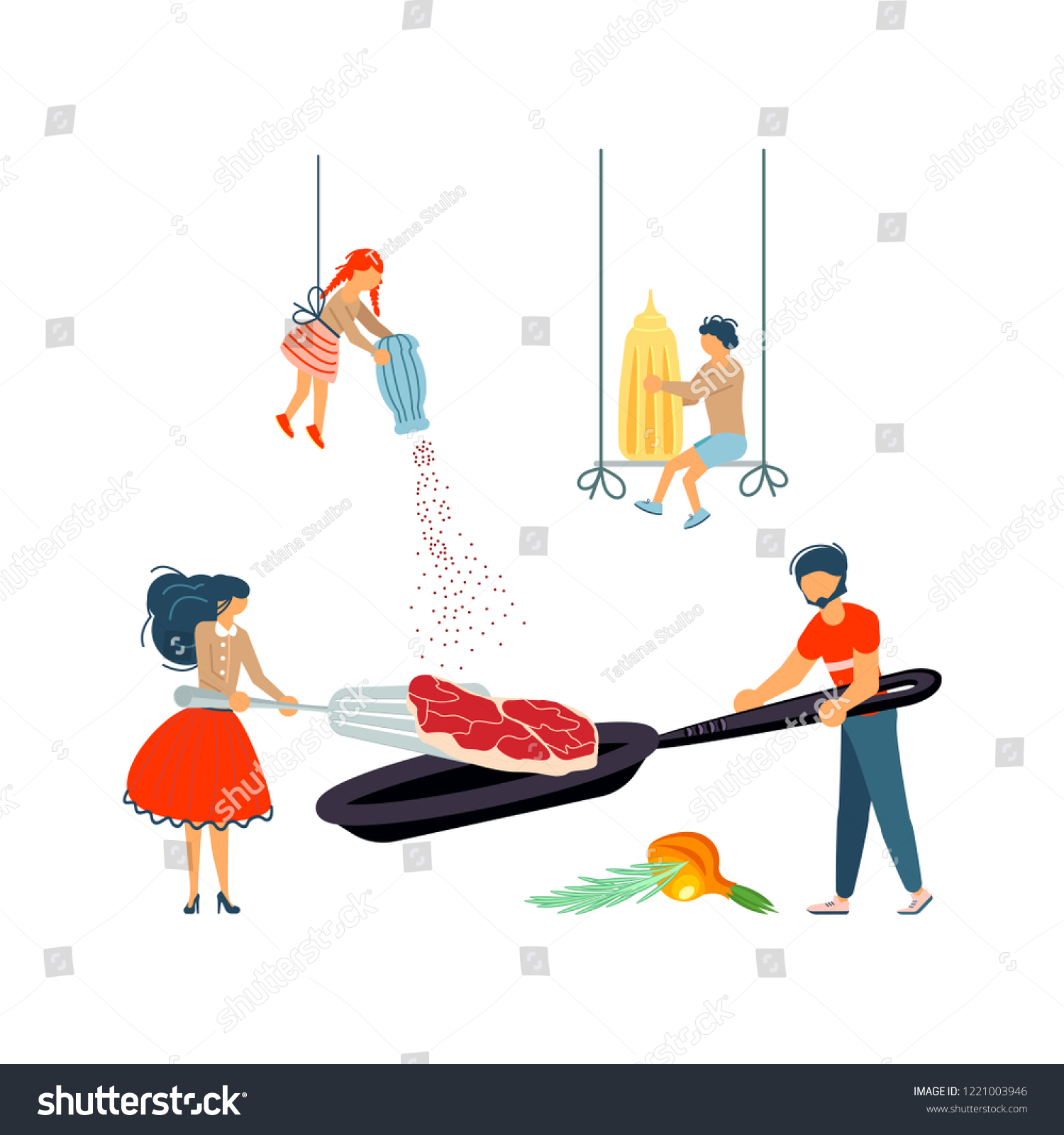 Happy Family Cooking Together Pork Chop Stock Vector (Royalty Free