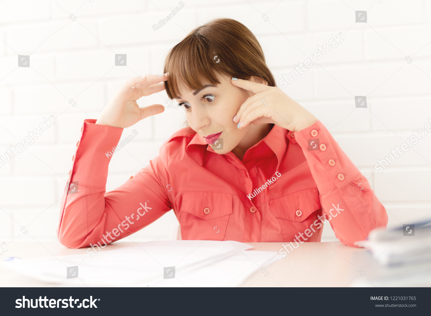 Sexy Girl Secretary Red Business Suit Stock Photo Edit Now