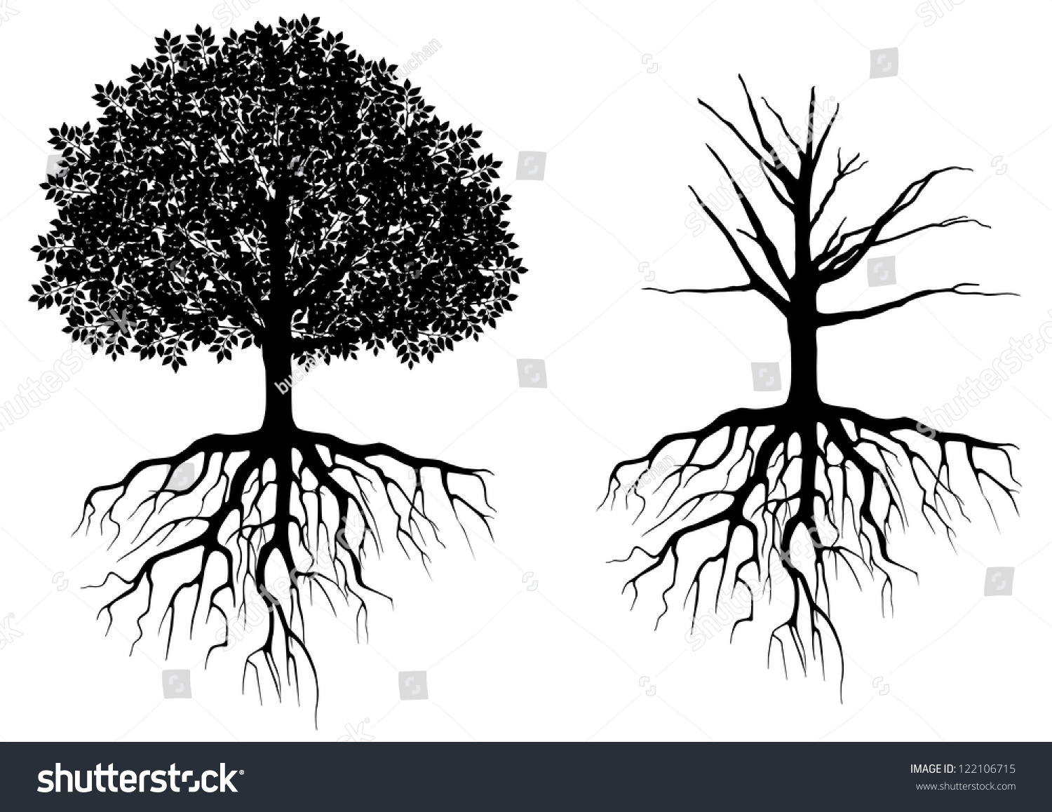 Vector Illustration Tree: Tree With Roots Isolated On White. Vector Illustration